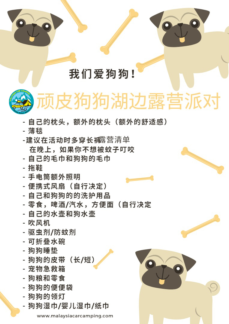 顽皮狗狗湖边露营派对——playful_puppy_lakeside_camping_party_Camping_packing_list_dog_camping_malaysia_car_camping_mcc_outdoor