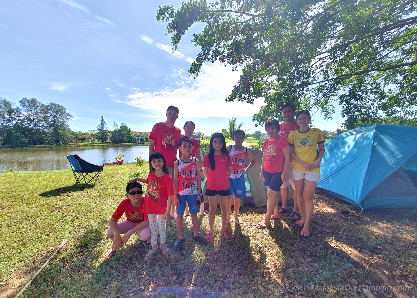 Parent Kids Lakeside Camping