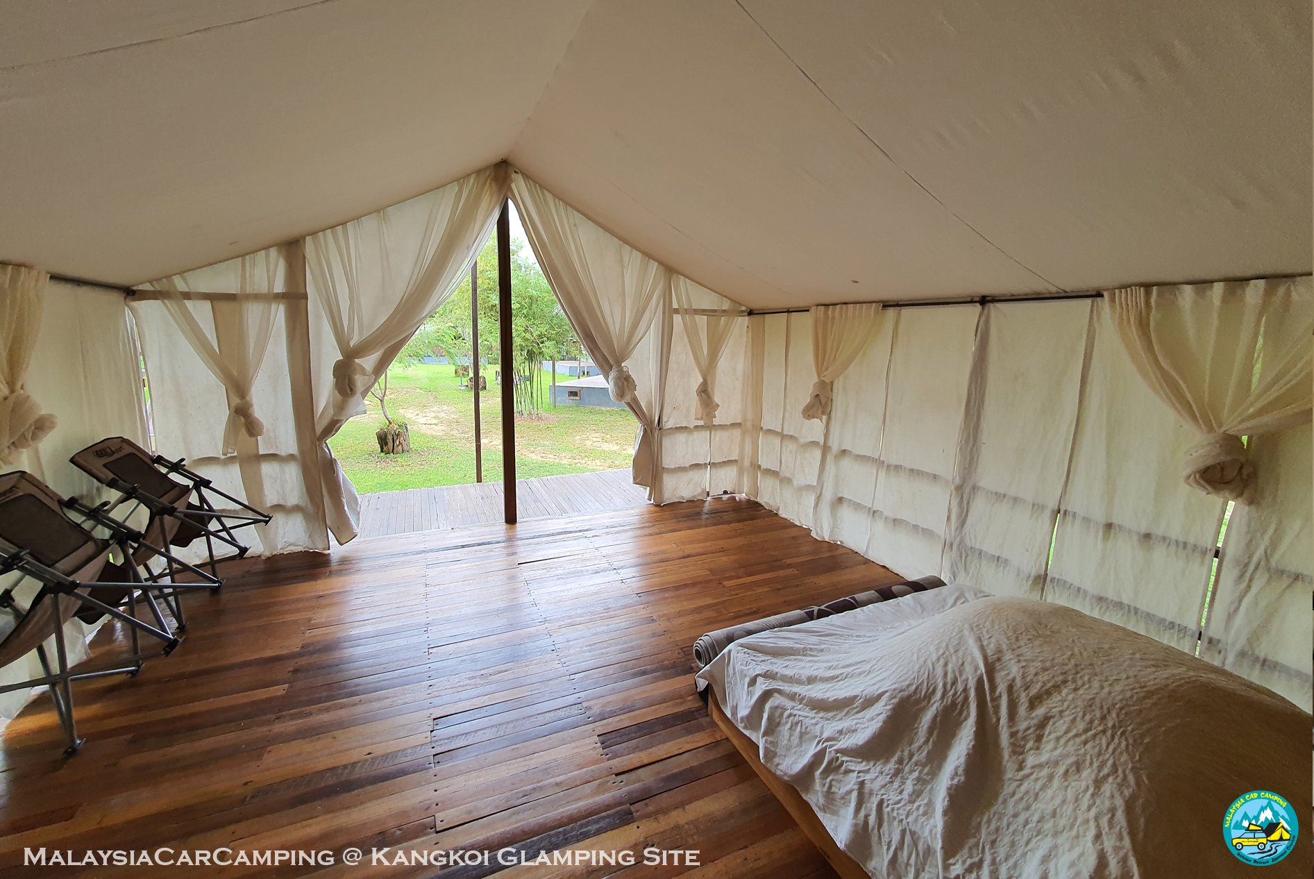 view from the inside tent